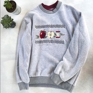 Sweaters - Grey Crewneck With Apple Designs
